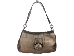 Brand New Coach Soho Leather Pleated Flap Bag Brown
