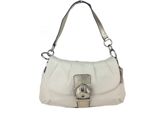 Brand New Coach Soho Leather Pleated Flap Bag White