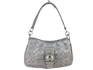 Brand New Coach Signature Pleated Soho Silver Hobo Bag