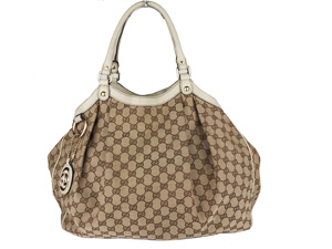 Gucci GG Canvas Sukey GM w/ White Leather Trim