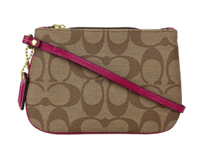 BRAND NEW Coach Signature Waterproof Wristlet Khaki Cherry