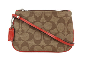 BRAND NEW Coach Signature Waterproof Wristlet Khaki Orange