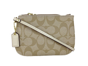 BRAND NEW Coach Signature Waterproof Wristlet Khaki White