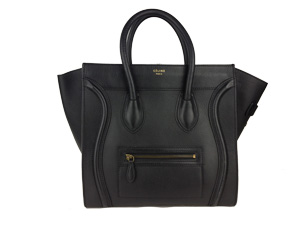 Sold Out Celine Black Pebbled Leather Zip Mini Luggage
