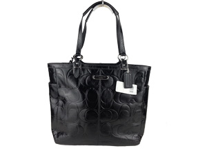 BRAND NEW Coach Black Galley Embossed Patent Tote