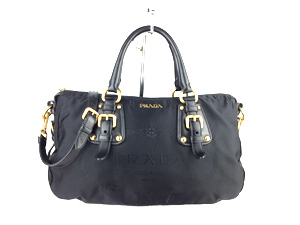 Prada Black Nylon Sling / Handle Bag
