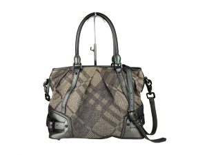 Burberry Metalic Leather Trim Classic Check Two Way Bag