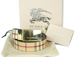 Burberry Haymarket Reversible Belt with Gold Plate Buckle