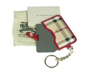 BRAND NEW Burberry Red Leather Trim Haymarket Mirror Key Ring