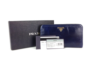 BRAND NEW Prada Dark Blue Zippy Wallet