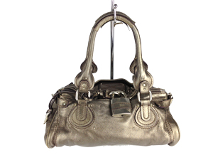 Chloe Metallic Leather Paddington Shoulde Bag