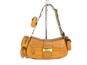 Christian Dior Brown Leather Shoulder Bag with Removable Pouches