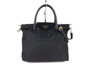 Prada Black Nylon Tessuto+Saffiano Sling / Handle