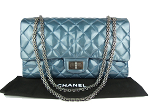 Chanel Reissue Blue Patent Leather Large 227 with Matt Silver Hardware