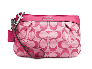 BRAND NEW Coach Pink Shantung Pleated Medium Wristlet F48754