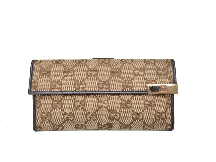 Gucci GG Canvas Trademark Continental Long Wallet