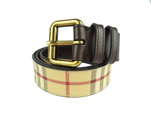 Burberry Haymarket Check Belt with Gold Buckle