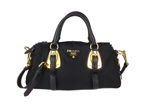 Prada Top Handle Satchel Tessuto Leather Nylon BN1904