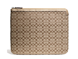 BRAND NEW Coach Khaki Signature Tablet / Ipad Sleeve F61035