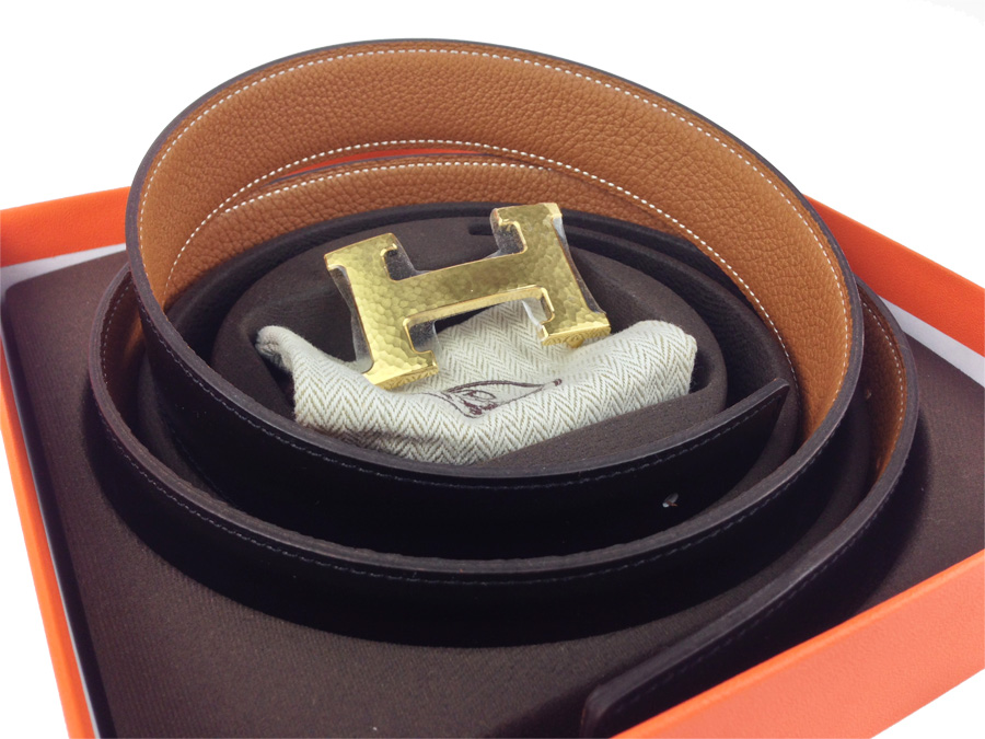Brand New Hermes Reversible Belt Brown/ Black with Gold Buckle  Medium