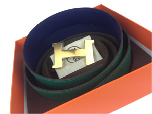 Brand New Hermes Reversible Belt Blue/ Green with Gold Buckle Large