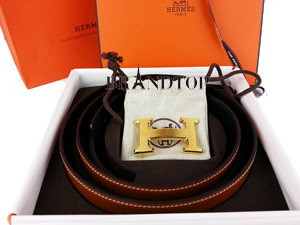 Brand New Hermes Reversible Belt Brown / Black W/ Gold Buckle Medium