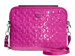 BRAND NEW Coach Embossed Patent Leather Hot Pink Magenta Ipad Tablet Sleeve Case Crossbody Bag F63808 with Shoulder Strap