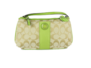 Brand New Coach Signature Stripe Green Large Wristlet F47706