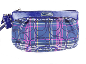 Brand New Coach Signature Tartan Plaid Pleated Medium Wristlet F48598