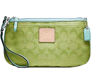 Brand New Coach Resort Signature Large Wristlet In Lime F48343