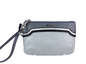 Brand New Coach Leather Spectator Medium Wristlet Bag Silver F47792