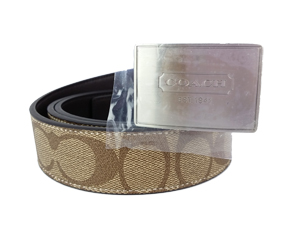 SOLD OUT BRAND NEW Coach Signature Reversible Silver Buckle Belt F66111