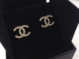 Sold Out BRAND NEW Chanel Light Gold Crystal CC Earrings