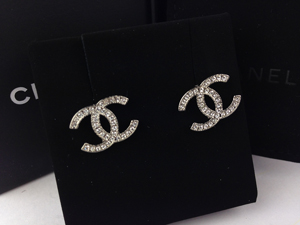 SOLD OUT BRAND NEW Chanel Light Silver Crystal CC Earrings