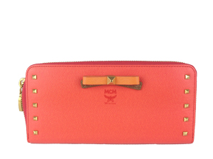 BRAND NEW MCM Orange Zippy Long Wallet