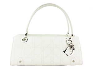 Christian Dior White Lambskin Dior Soft Zipped Shopping Bag