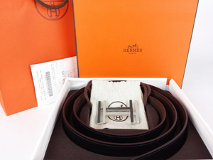 BRAND NEW Hermes Brown Black Reversible Belt Kit w/ Silver Buckle