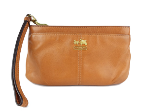Coach Brown Full Leather Wristlet