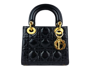 SOLD OUT Christian Dior Black Pattern Leather Micro Lady Dior Top Handle