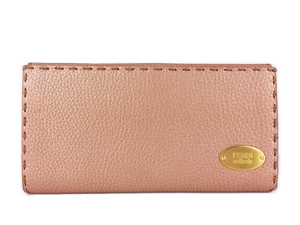 SOLD OUT FENDI Selleria Double Snap Long Wallet Pink