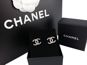 SOLD OUT BRAND NEW Chanel Crystals Silver CC Earrings