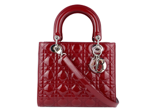 SOLD OUT Christian Dior Red Pattern Leather Lady Dior Two Way
