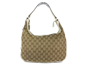 Gucci GG Canvas White Leather Trim Sholder Bag