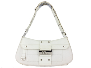 Christian Dior white Leather Shoulder Bag with Removable Pouches