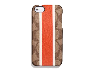 SOLD OUT BRAND NEW Coach Papaya Heritage Stripe Iphone Case F67556