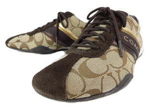 Coach Jayme Khaki Brown Signature CC Tennis Sneakers Shoes Flats Size:5.5
