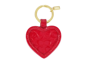 SOLD OUT BRAND NEW Coach Red Patent Leather Heart Key Ring F67976