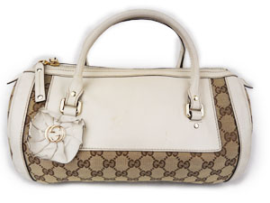 Gucci Bostom GG Canvas with White Leather Trim