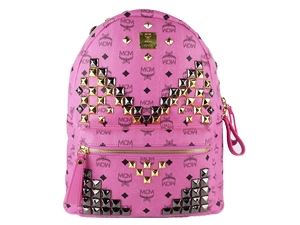 BRAND NEW MCM Logo With Rivet Pink Backpack