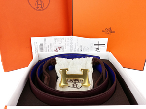 BRAND NEW Hermes Blue Maroon Reversible Belt Kit w/ Gold Buckle